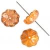 Glass Bead Flower 11mm Strung Center Hole 2-Tone Green/Brown